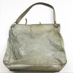 HOBO Green Leather Tassel Hobo Bag